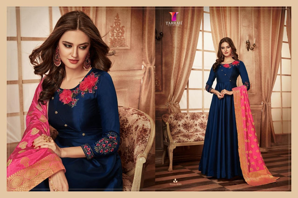 8abd06a917d64 Fancy Heavy Party Wear Gown - Dark Blue and Peach Dupatta