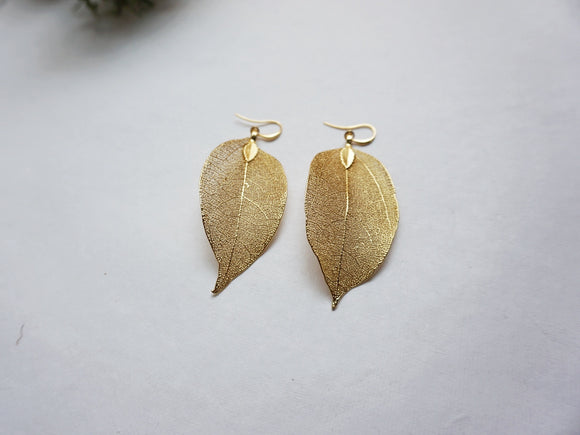 Natural Leaf Gold Earrings