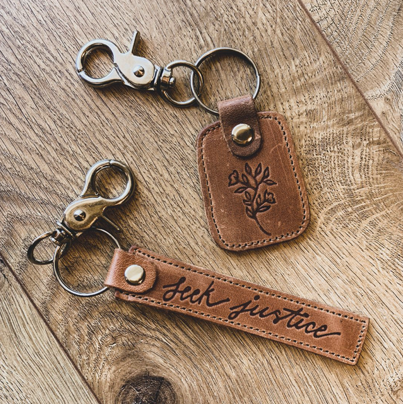Leather Keychain-Seek Justice & In The Garden