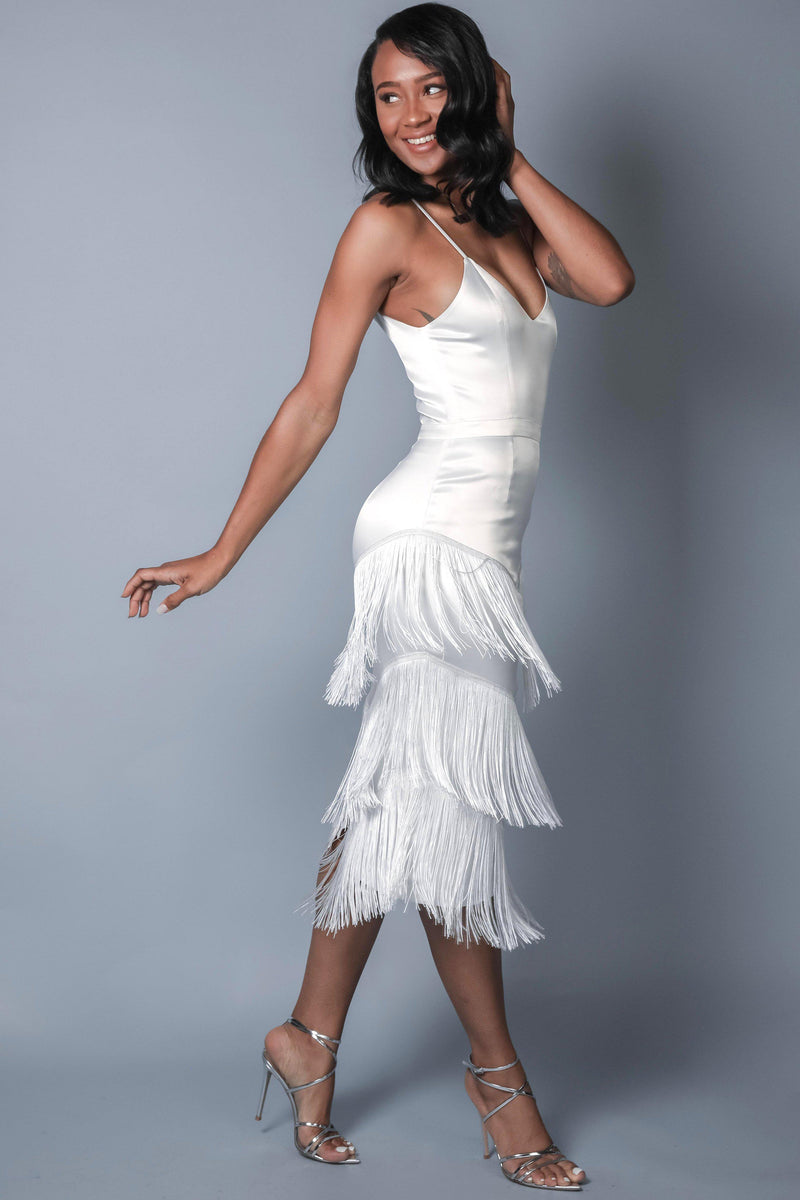 ANAISE FRINGE DRESS (WHITE)