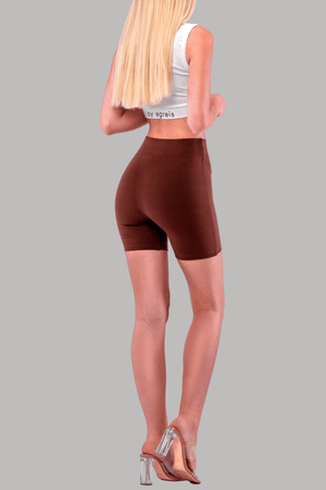 ALLIE BIKER SHORTS [BROWN]