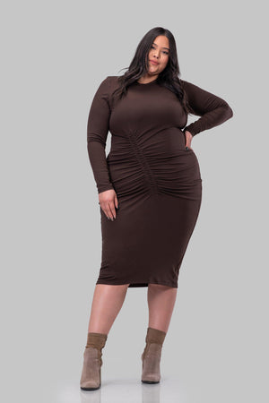 AMANDA DRESS [BROWN]