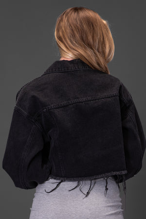 BYE CROPPED DENIM JACKET [BLACK]