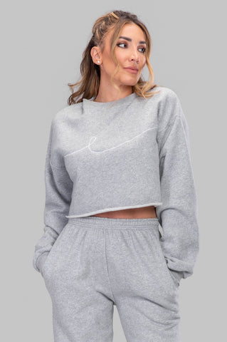 BYE CROPPED SWEATSHIRT [GRAY]