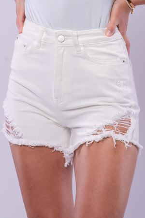 BYE DISTRESSED DENIM SHORTS [WHITE]
