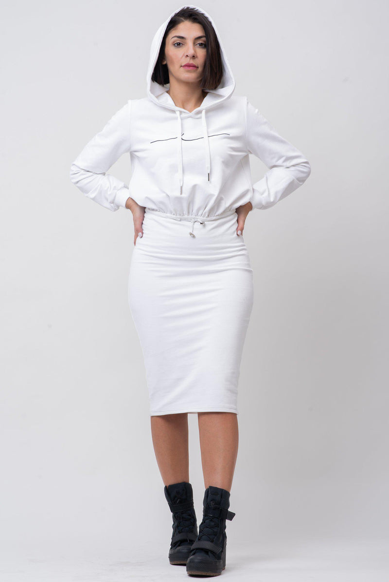 BYE SIGNATURE HOODIE DRESS [WHITE]
