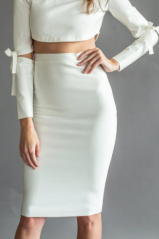 GWYNETH BANDAGE SKIRT [WHITE]