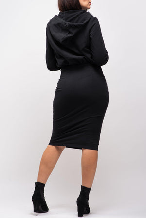 BYE SIGNATURE HOODIE DRESS [BLACK]