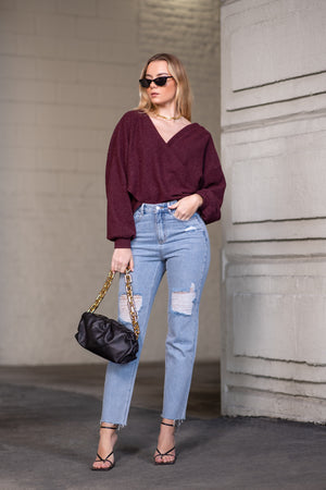 CYNTHIA SWEATER [BURGUNDY]