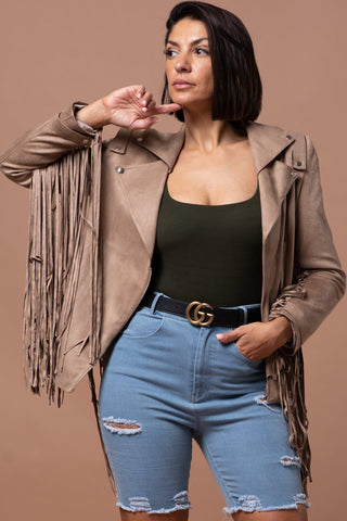 DARCI BIKER JACKET [BROWN]
