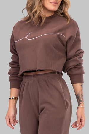 BYE CROPPED SWEATSHIRT [BROWN]