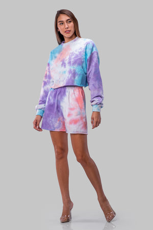 BYE CROPPED SWEATSHIRT [PURPLE TIE DYE]