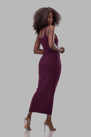 LAURIE DRESS [BURGUNDY]