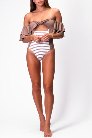 LILLIAN BODYSUIT/SWIM [PINSTRIPE]