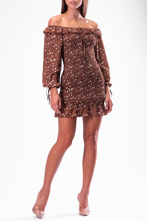 LINA DRESS [BROWN]