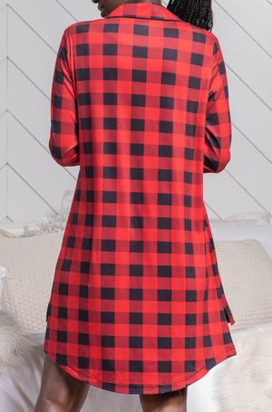 RED PLAID LOUNGE DRESS