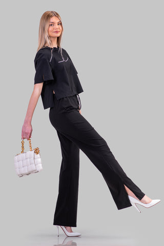 BYE SIGNATURE FLARE PANTS [BLACK]