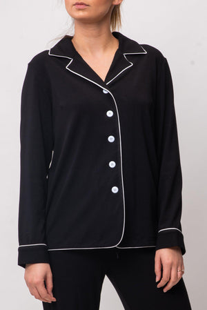 BYE BUTTON UP TOP [BLACK]