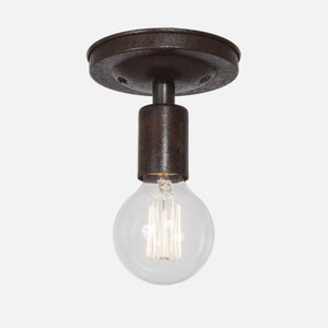 Bare Bulb Flush Mount Ceiling Light - Ebonized Rust