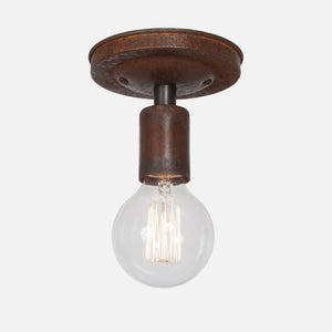 Bare Bulb Flush Mount Ceiling Light - Natural Rust