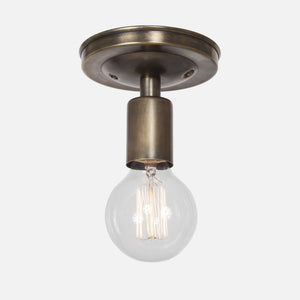 Bare Bulb Flush Mount Ceiling Light - Vintage Brass