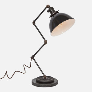 Zig Brass Pipe Table Lamp - Black Porcelain Enamel Dome Shade