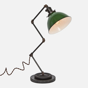 Zig Brass Pipe Table Lamp - Green Porcelain Enamel Dome Shade