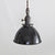 Black Porcelain Dome Shade Pendant Light - Brass Switch Socket