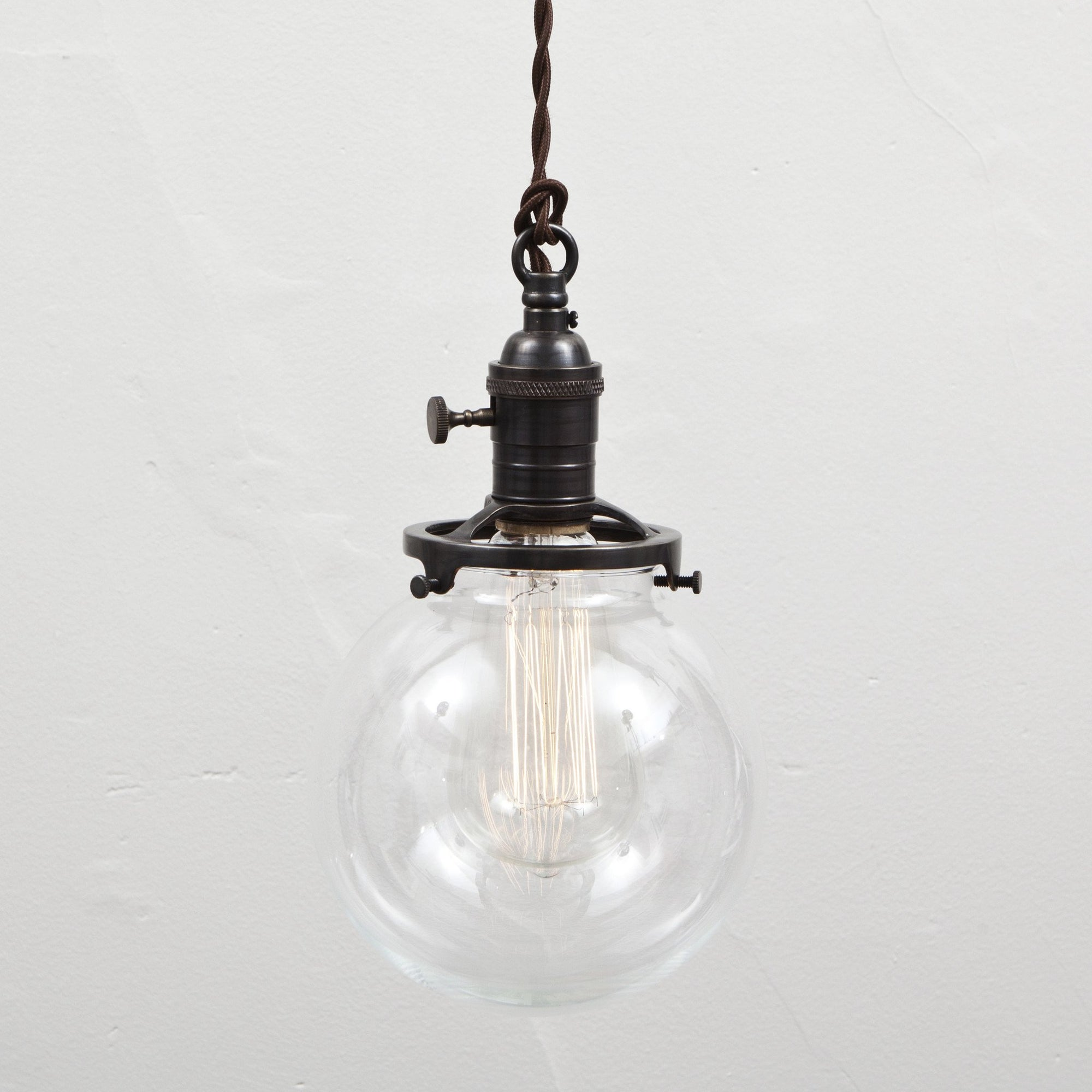 Clear Glass Globe Pendant Light - Brass Switch Socket