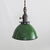 Green Porcelain Dome Shade Pendant Light - Brass Switch Socket