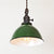 Green Porcelain Dome Shade Pendant Light - Brass Switch Socket - Detail
