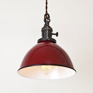 Red Porcelain Dome Shade Pendant Light - Brass Switch Socket - Detail