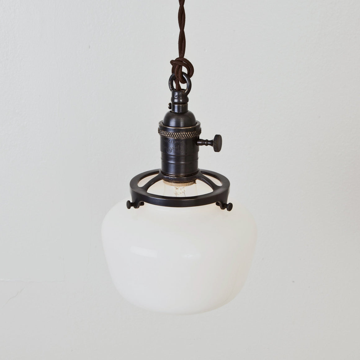 Schoolhouse Shade Pendant Light - Brass Switch Socket