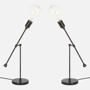 Counterbalance Bare Bulb Table Lamp - Ebonized Brass - Mirrored Pair