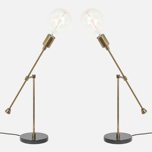 Counterbalance Bare Bulb Table Lamp - Vintage Brass - Mirrored Pair
