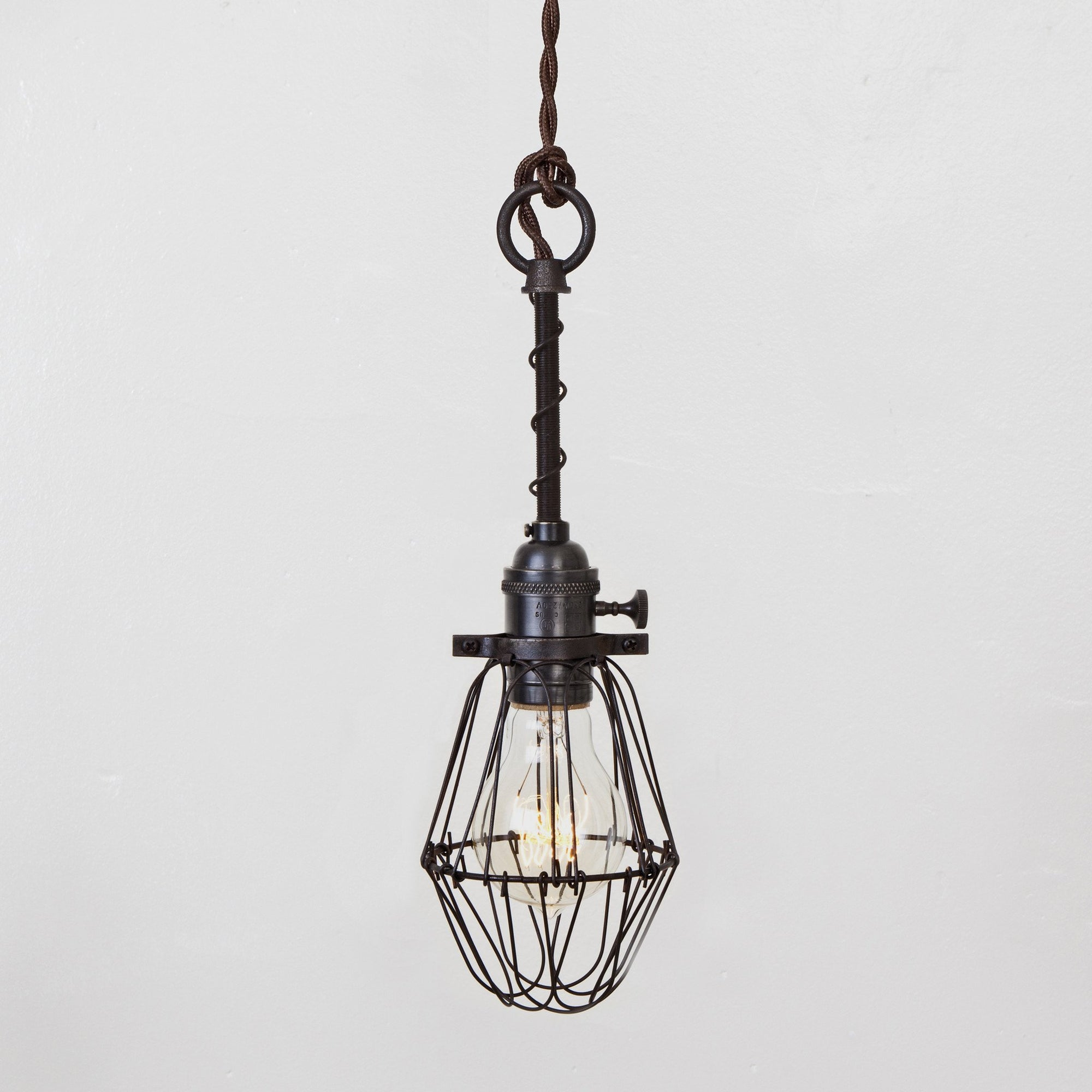 Basic Wire Bulb Cage Pendant Light - Brass Switch Socket