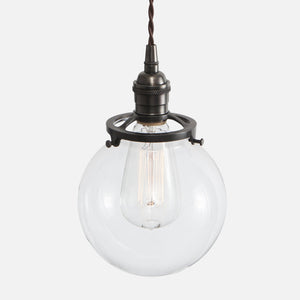 Clear Glass Globe Shade Pendant Light - Ebonized Brass Patina - Vintage Classic Socket