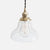 Vintage Socket Pendant Light - Clear Glass Curved Bell Shade - Raw Brass Patina