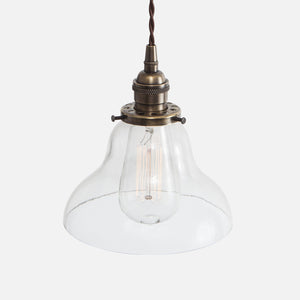 Vintage Socket Pendant Light - Clear Glass Curved Bell Shade - Vintage Brass Patina
