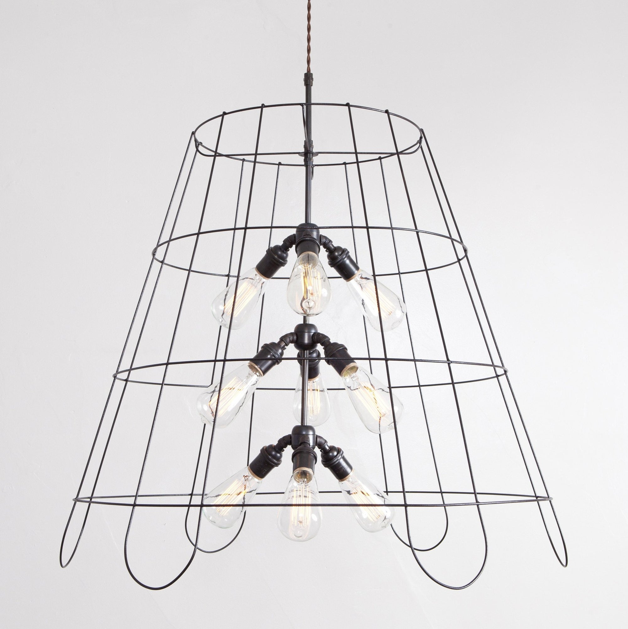 Vintage Lampshade Frame Chandelier - 9 Light