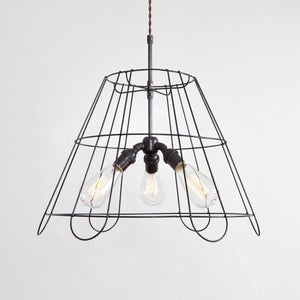 Vintage Lampshade Frame Chandelier - 3 Light