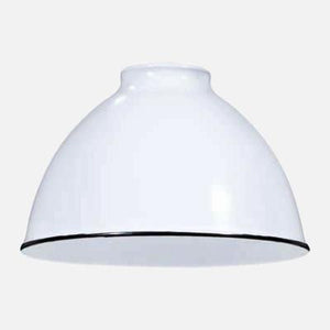 White Porcelain Dome Shade Pendant Light - Brass Switch Socket
