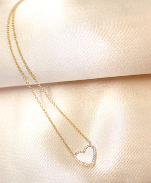 14K Yellow Gold Heart Shape Mother Of Pearl & Diamond Necklace - Ice Motif