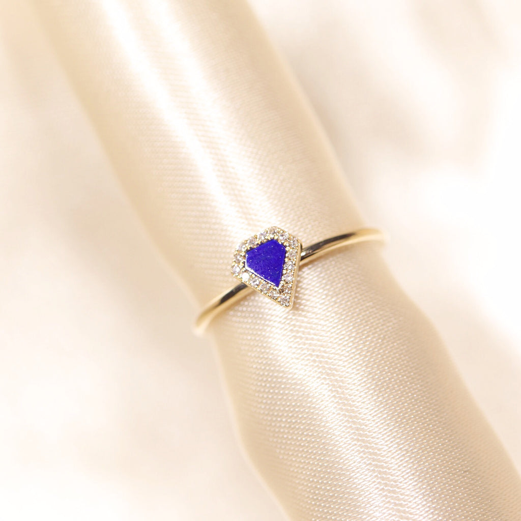 14K Yellow Gold Lapis Lazuli Diamond Ring - Ice Motif