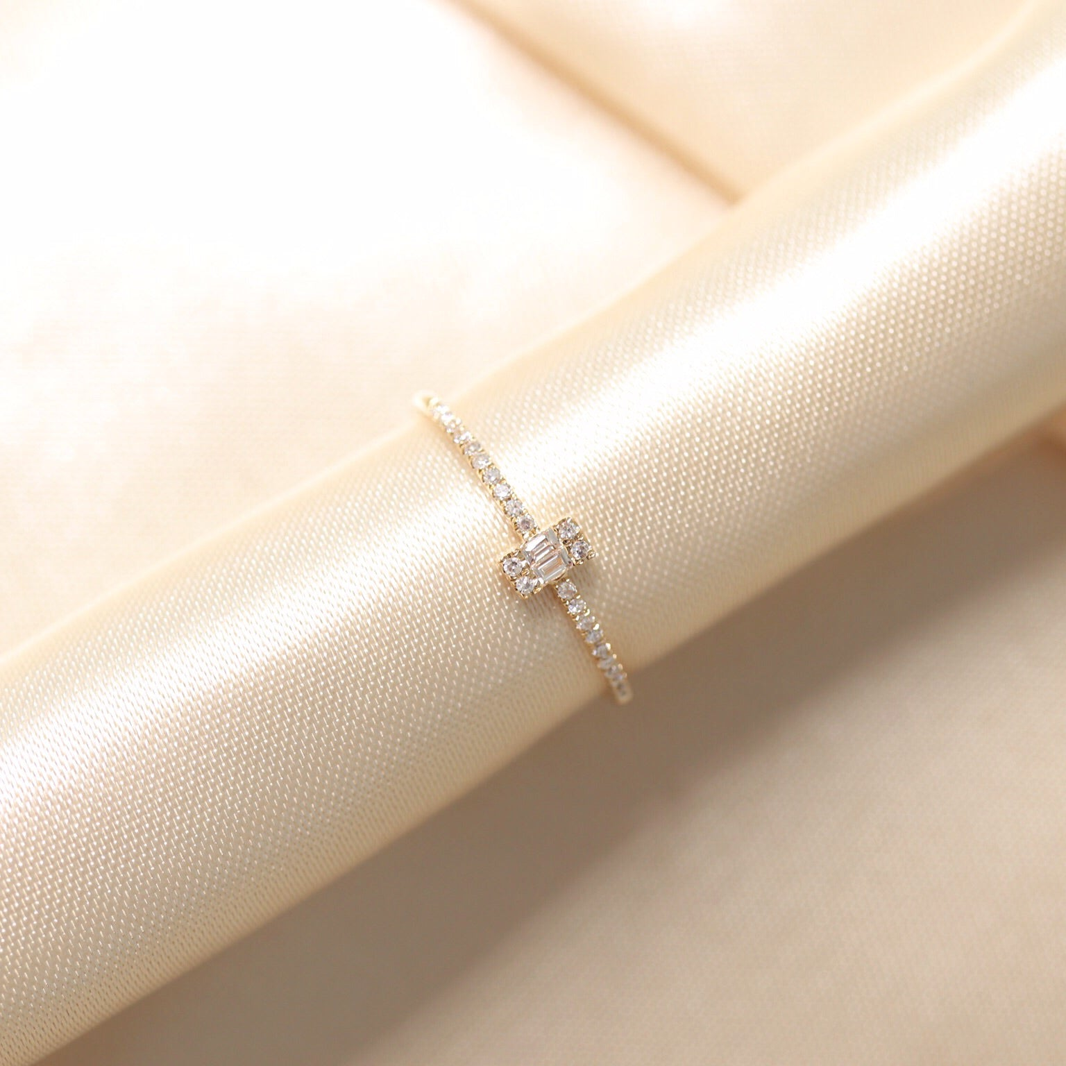 14K Gold Double Baguette & Round  Diamond Ring - Ice Motif