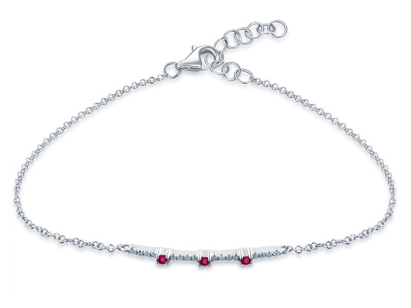 14K White Gold Diamond & Precious Gemstone (Emerald/Sapphire/Ruby) Bracelet - Ice Motif