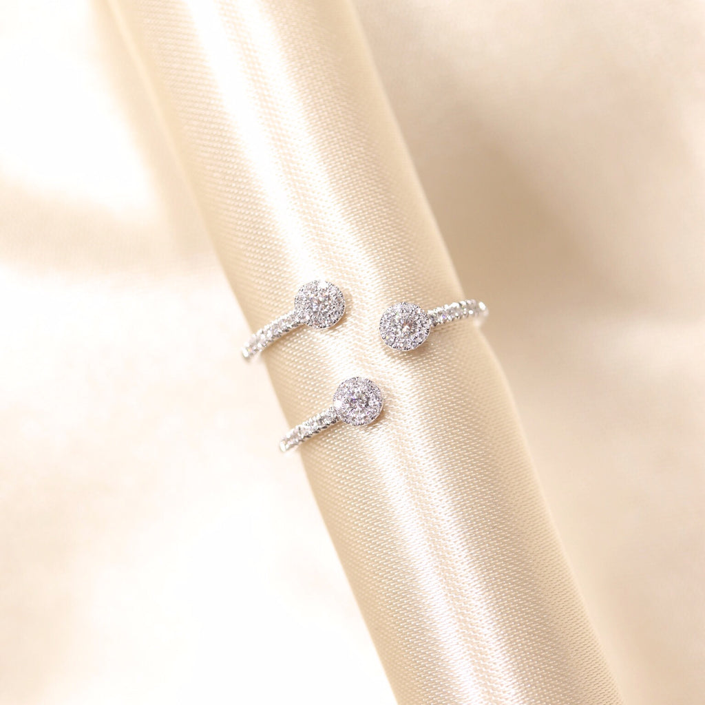 14K White Gold Trinity Halo Diamond Ring - Ice Motif