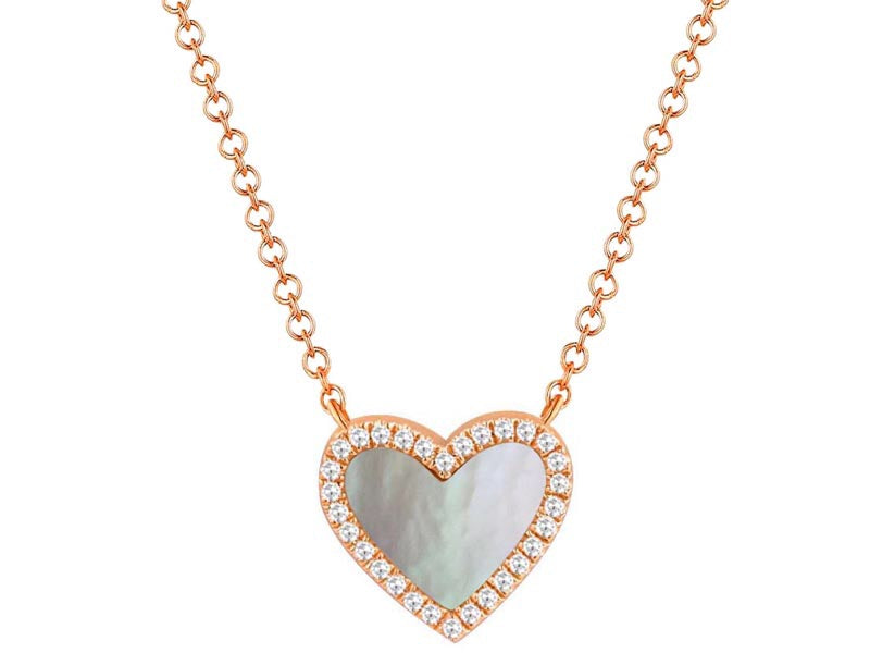 14K Gold Heart Shape Mother of Pearl & Diamond Necklace - Ice Motif