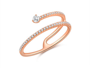 14K Gold Comet Diamond Ring - Ice Motif