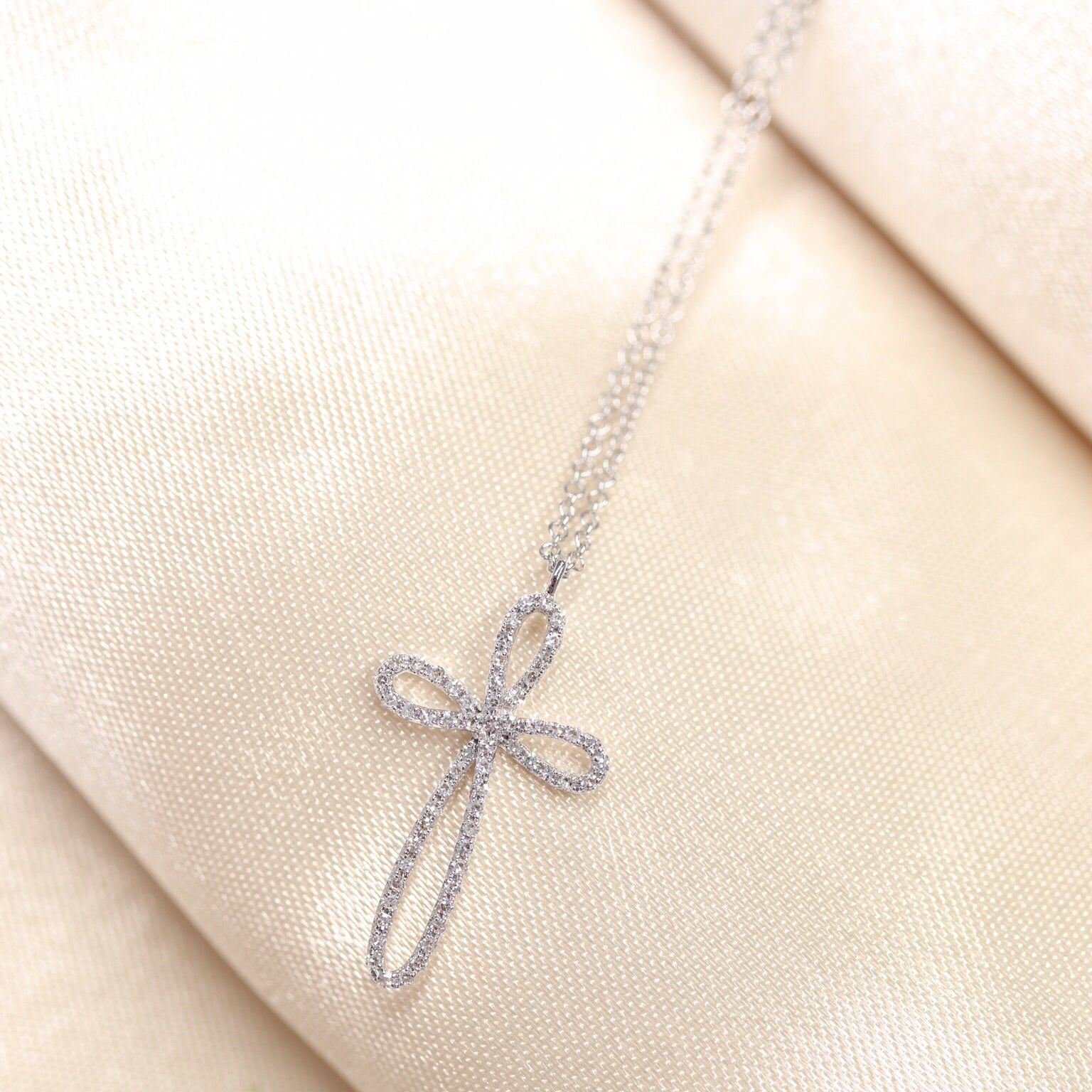 14K White Gold Diamond  Cross Necklace - Ice Motif